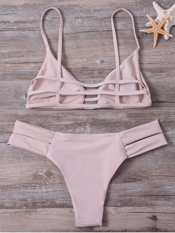 Lattice Strap Banded Bikini Set - YELLOWISH PINK S Mobile