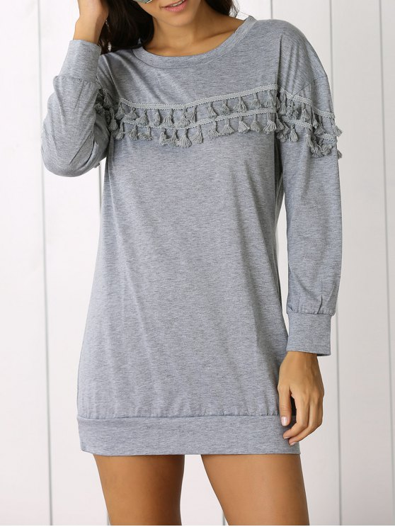 hot Fringed Sweatshirt Dress - GRAY XL
