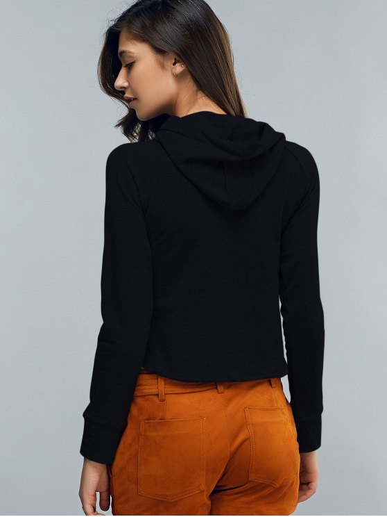 Cropped Hooded Long Sleeve Pullover Hoodie - BLACK S Mobile