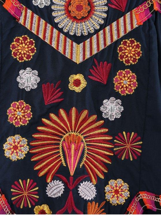 Embroidered Tiered Midi Dress - PURPLISH BLUE M Mobile