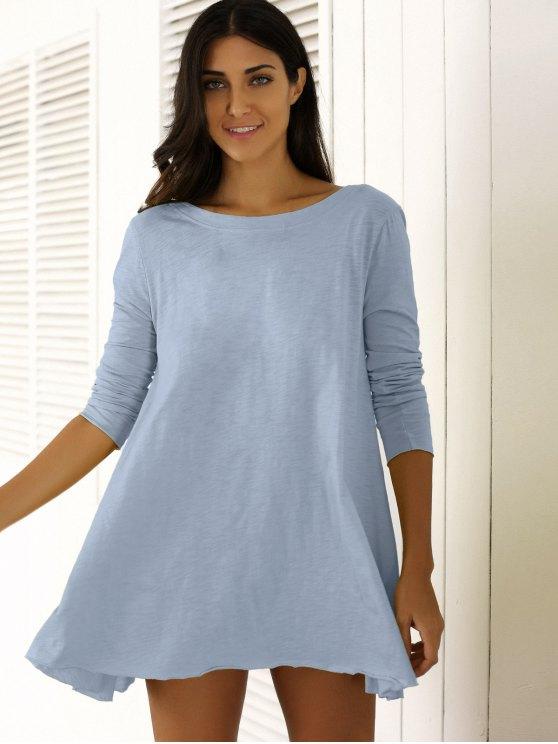 U Neck Long Sleeve Solid Color T-Shirt - BLUE GRAY M Mobile