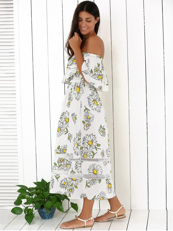 Floral Off The Shoulder Ruffles Midi Dress - WHITE M Mobile