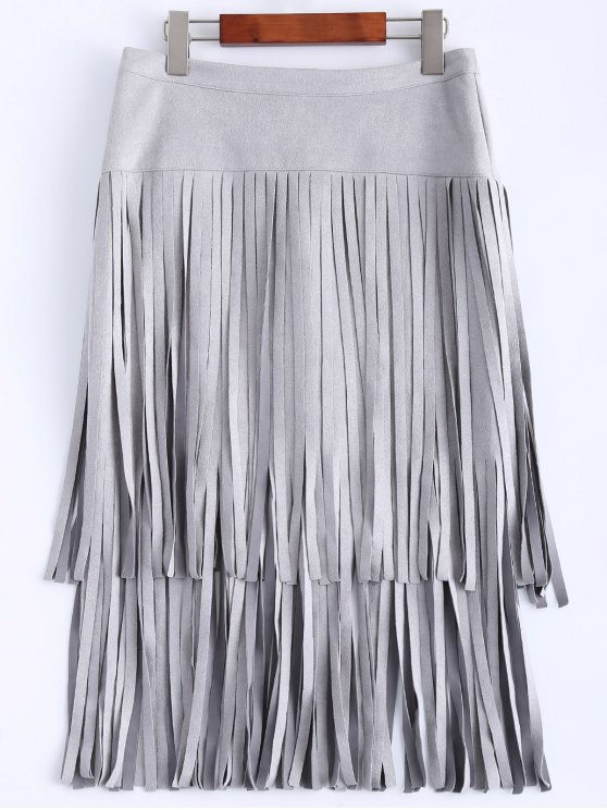 Faux Suede Fringed Flapper Skirt - GRAY M Mobile