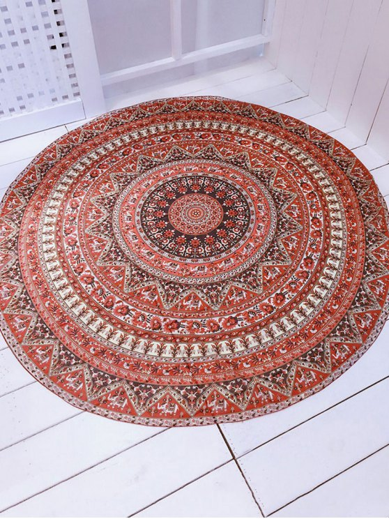 Printed Convertible Round Shape Beach Throw - BROWN ONE SIZE Mobile