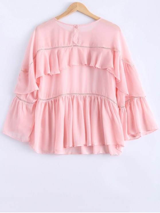 Ladder Crochet Trim Frilly Top - PINK M Mobile