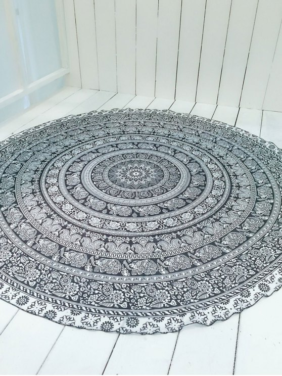 Convertible Printed Round Shape Beach Throw - WHITE AND BLACK ONE SIZE Mobile