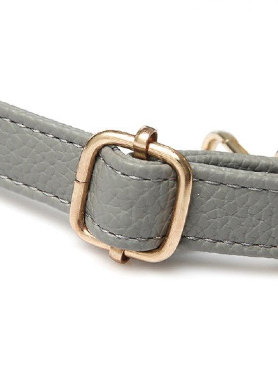 Metal Zipper PU Leather Tote Bag - GRAY  Mobile