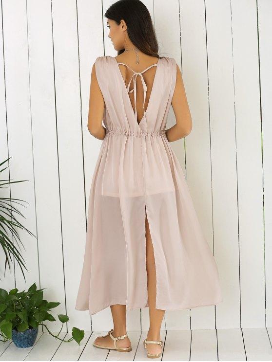 Gray Sleeveless Backless Maxi Dress - GRAY M Mobile