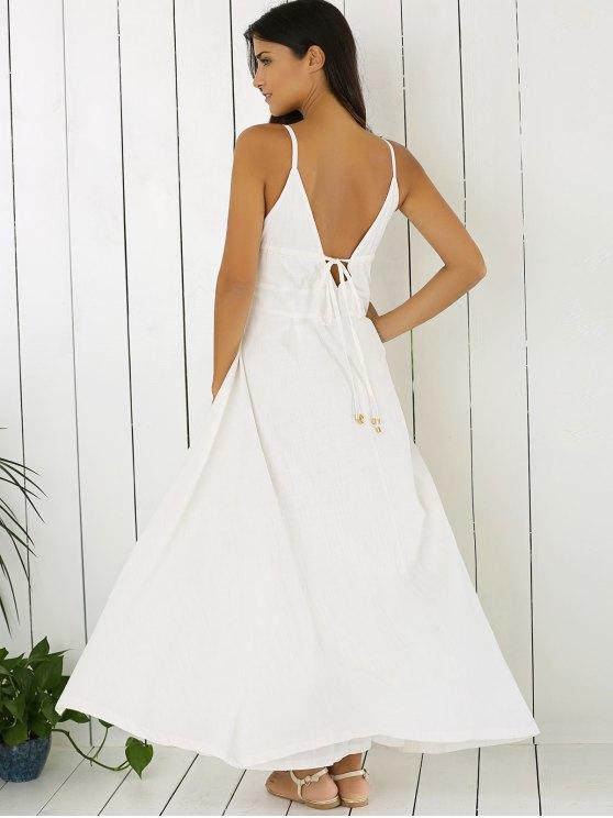 White Cami Plunging Neck Maxi Dress - WHITE L Mobile
