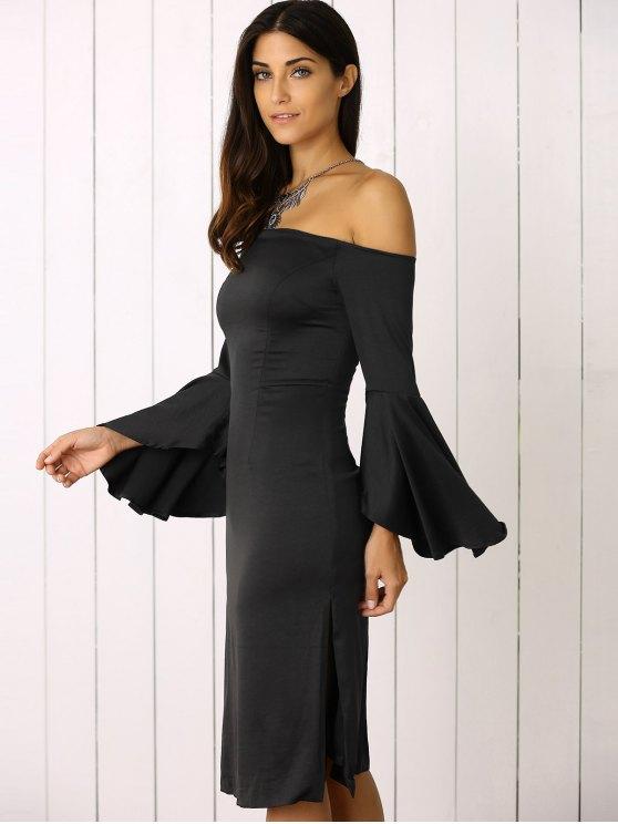 Dramatic Sleeve Off The Shoulder Sheath Dress - BLACK M Mobile