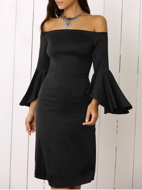 lady Dramatic Sleeve Off The Shoulder Sheath Dress - BLACK M