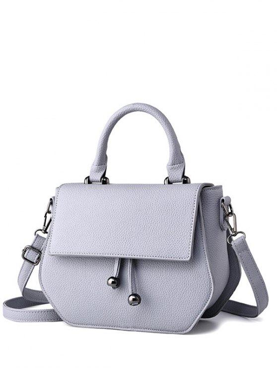 new Zip PU Leather Metal Crossbody Bag - LIGHT GRAY