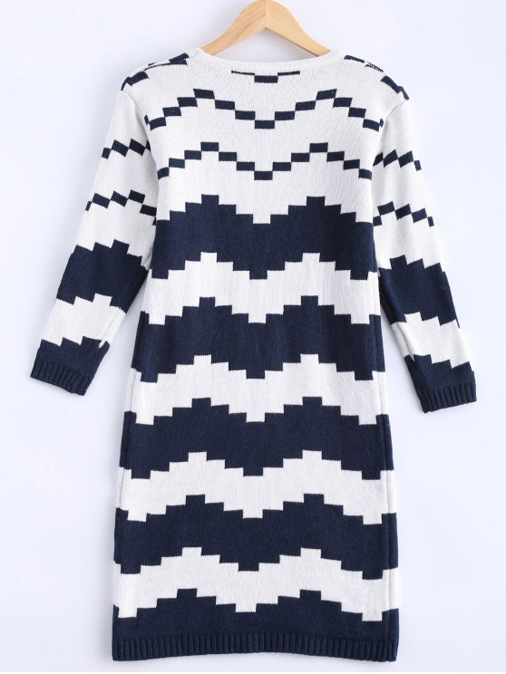 Striped Midi Sweater Dress - BLUE AND WHITE ONE SIZE Mobile