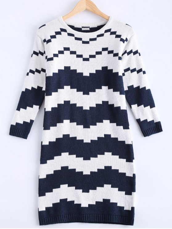online Striped Midi Sweater Dress - BLUE AND WHITE ONE SIZE