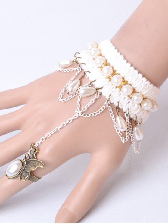 Artificial Pearl Butterfly Bracelet With Ring -   Mobile
