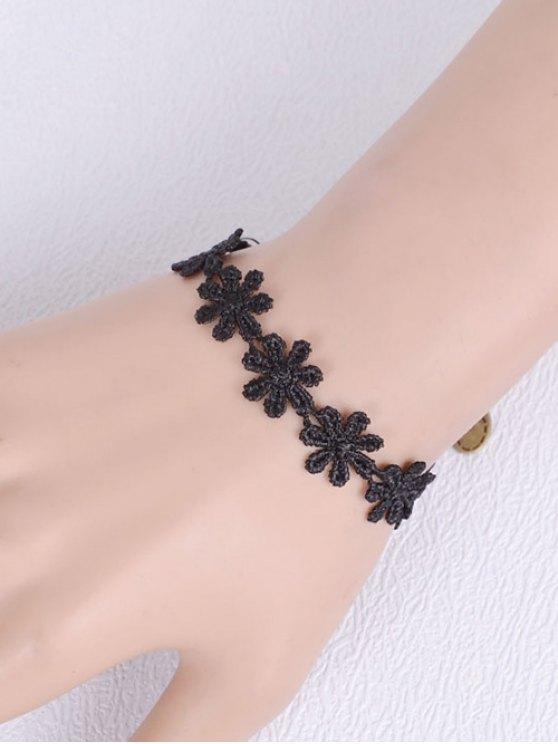 Artificial Lace Blossom Woven Bracelet - BLACK  Mobile