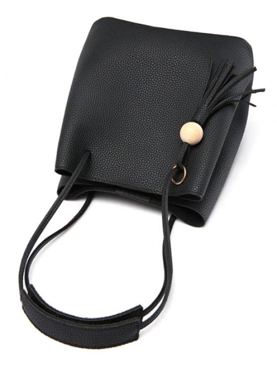 Tassels Magnetic Closure Metal Ring Shoulder Bag - BLACK  Mobile