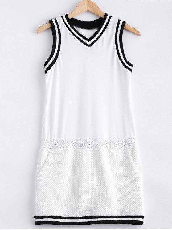 Empalmado vestido sin mangas de encaje de cuello V ocasional - Blanco S