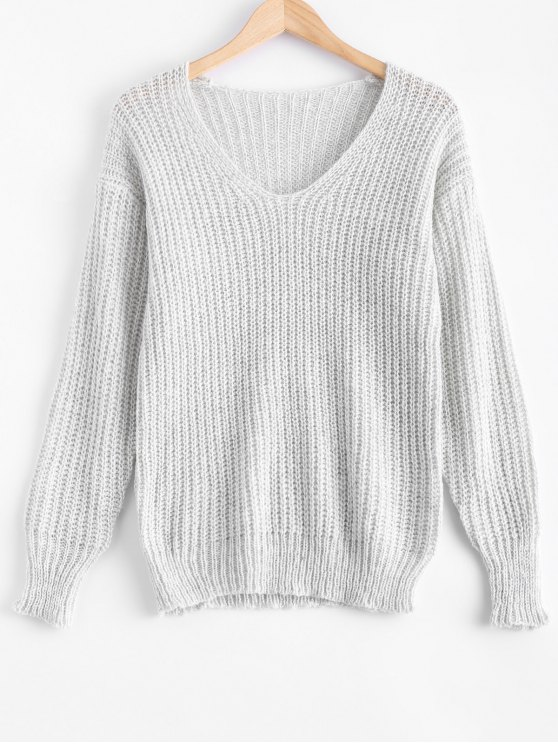 chic V Neck Oversized Sweater - GRAY S