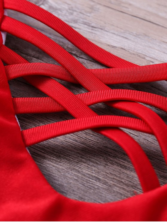 Printed Lace Up Spaghetti Straps Bikini Set - RED S Mobile