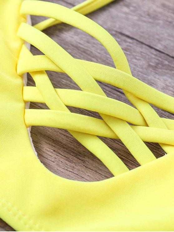 Floral Cami Yellow Bikini Set - COLORMIX S Mobile
