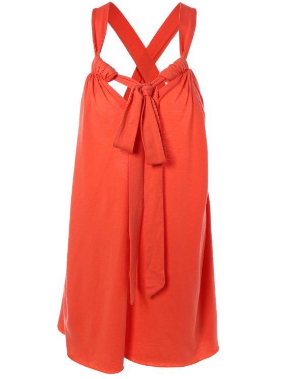 buy Halter Cross Back Cami Shift Dress - RED S