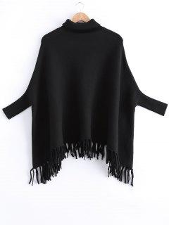 Fringed Batwing Sleeves Loose Sweater - Black