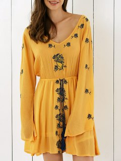 Embroidery V Neck Long Sleeve Drawstring Dress - Earthy M