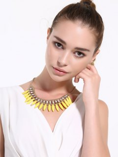 Faux Rammel Rhinestone Hollow Out Necklace - Yellow
