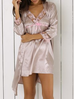 Lace Trim Babydoll And Robe - Apricot