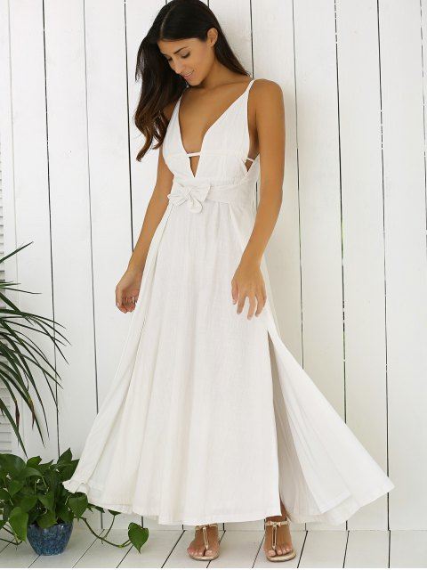 outfits White Cami Plunging Neck Maxi Dress - WHITE L Mobile