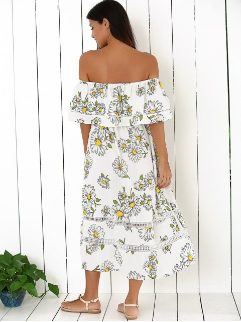 affordable Floral Off The Shoulder Ruffles Midi Dress - WHITE M Mobile