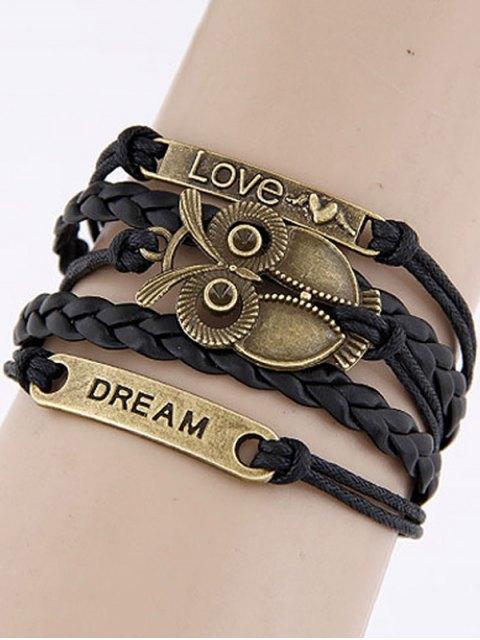 online Owl Braided Bracelet - BLACK  Mobile