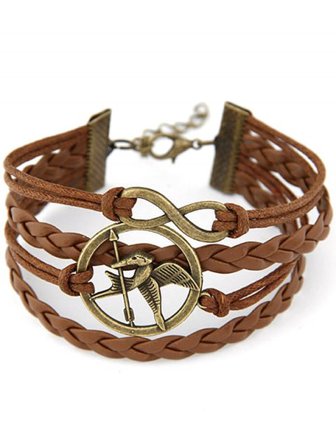 outfit Bird Infinity Braided Bracelet - BROWN  Mobile