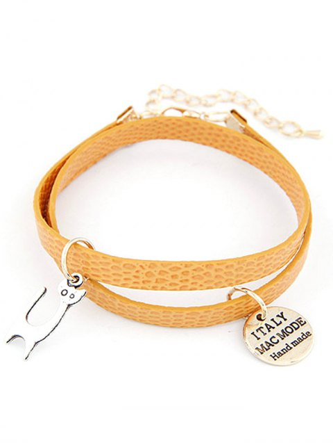 latest Cat Faux Leather Wrap Bracelet - YELLOW  Mobile