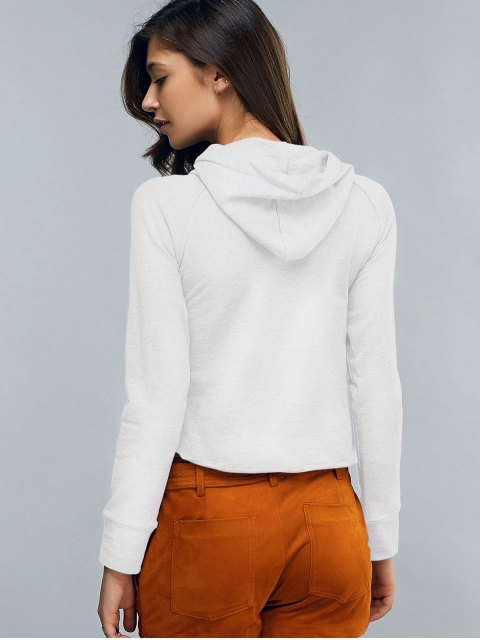 sale Cropped Hooded Long Sleeve Pullover Hoodie - WHITE S Mobile