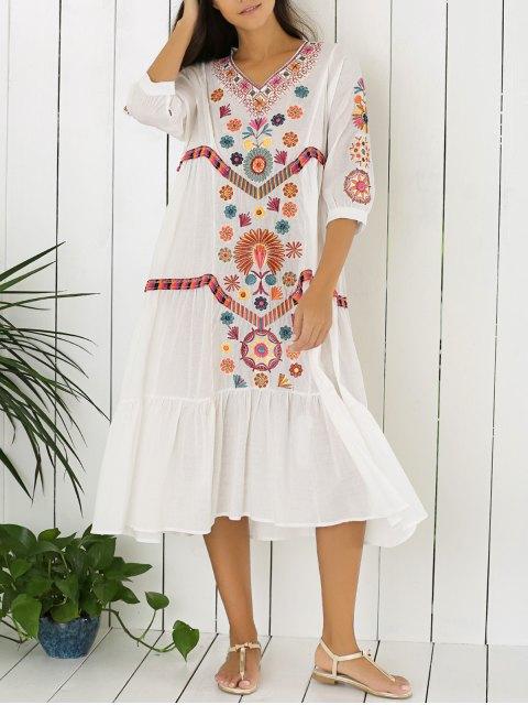 fashion Embroidered Tiered Midi Dress - WHITE M Mobile