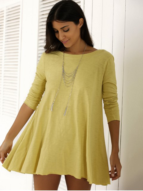 sale U Neck Long Sleeve Solid Color T-Shirt - YELLOW M Mobile
