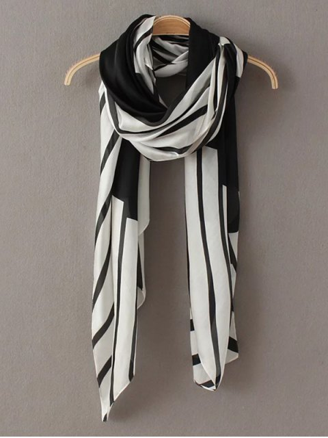 hot Comfortable Stripe Pashmina - WHITE AND BLACK  Mobile