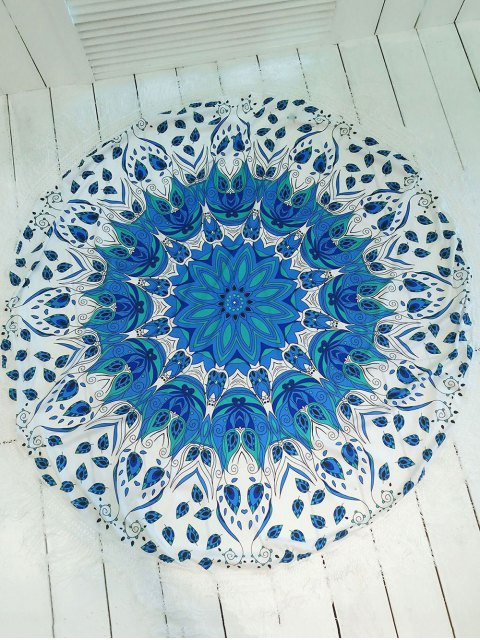 chic Printed Round Shape Tassels Convertible Beach Throw - BLUE AND WHITE ONE SIZE Mobile