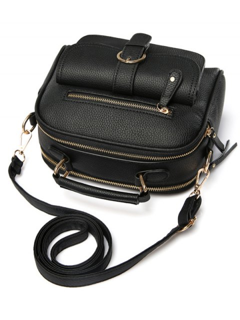affordable Buckle PU Leather Zippers Crossbody Bag - BLACK  Mobile