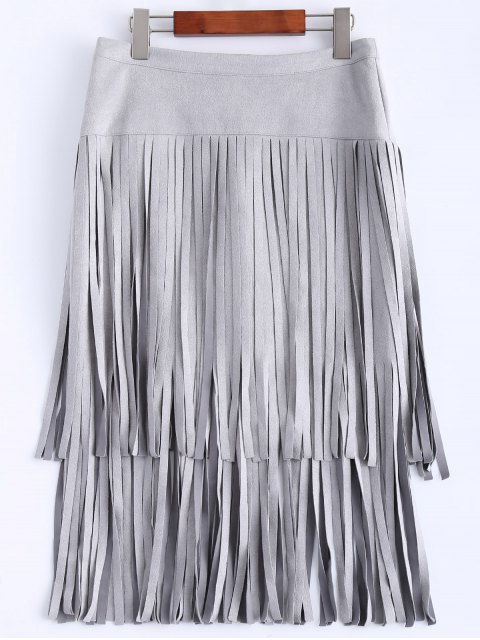 womens Faux Suede Fringed Flapper Skirt - GRAY M Mobile
