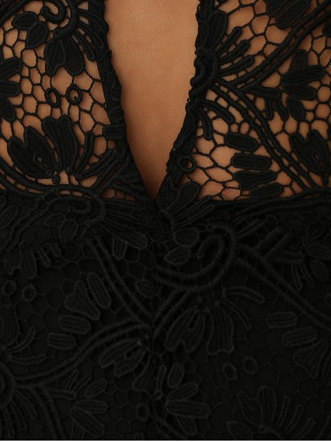 women Solid Color Plunging Neck Sleeveless Lace Jumpsuit - BLACK M Mobile