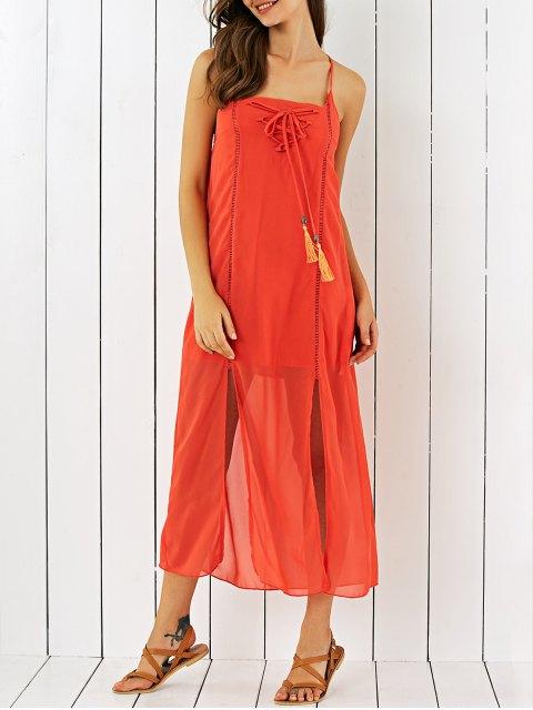 trendy Double Slit Chiffon Midi Dress - JACINTH M Mobile