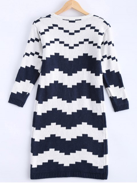 online Striped Midi Sweater Dress - BLUE AND WHITE ONE SIZE Mobile