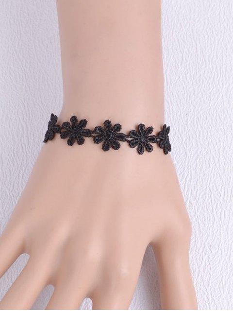 trendy Artificial Lace Blossom Woven Bracelet - BLACK  Mobile