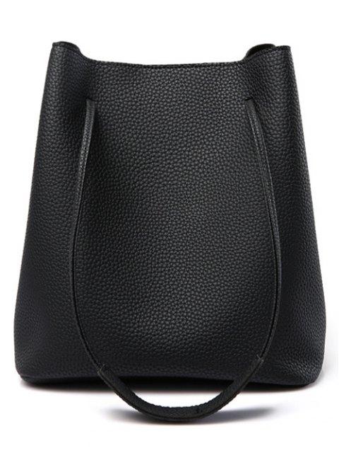 chic Tassels Magnetic Closure Metal Ring Shoulder Bag - BLACK  Mobile
