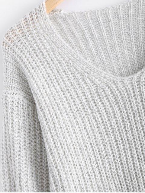 fashion V Neck Oversized Sweater - GRAY M Mobile