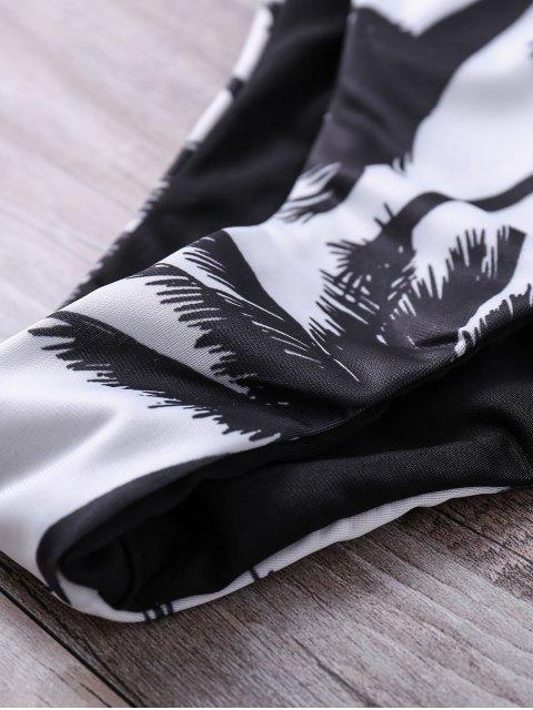 affordable Print Spaghetti Straps Bikini Set - WHITE S Mobile