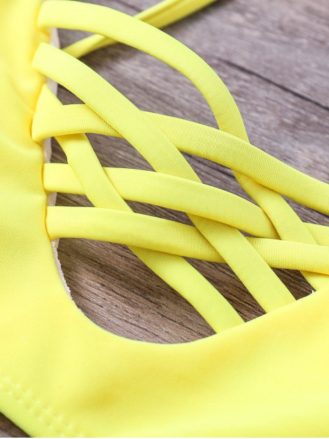 trendy Floral Cami Yellow Bikini Set - COLORMIX S Mobile